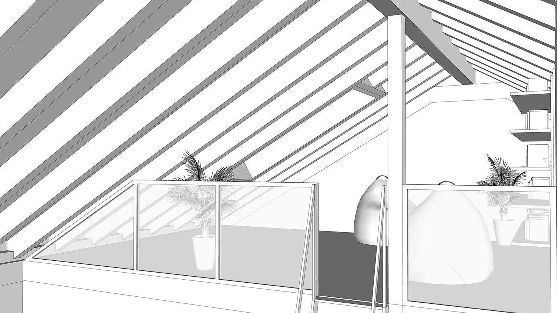 200918 - Wohnhausneubau Meyer zu Devern Innenansicht Dachflächenfenster Galerie Dachraum