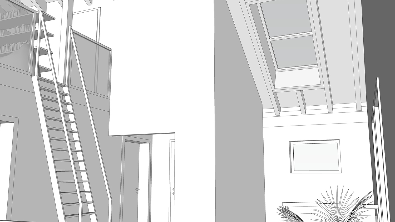 200918 - Wohnhausneubau Meyer zu Devern Innenansicht Dachflächenfenster über Treppe