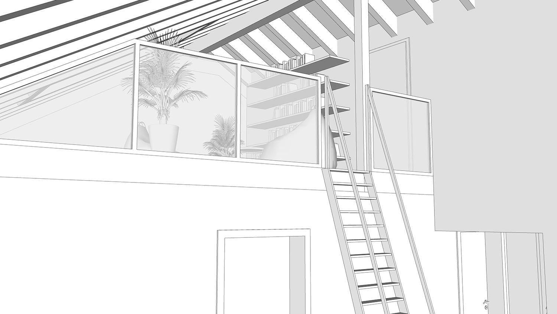 200918 - Wohnhausneubau Meyer zu Devern Innenansicht Galerie Dachraum mit Speicherzugang